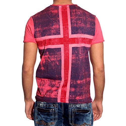 T-Shirt Poloshirt Shirt für Herren Männer Jungs Jungen A16641RN, Größe:S, Farbe:Rot