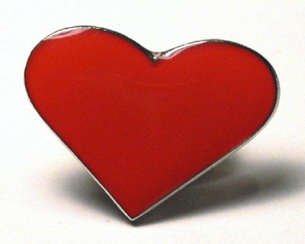 Broche en métal émaillé Motif coeur rouge amour Love Mainly Metal