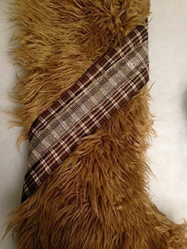 Luxurious Mongolian camel color faux fur Christmas Stocking with plaid sash. Fully lined. Roomy, large, super (Luxurious Camel)
