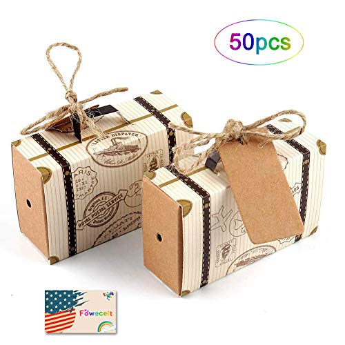 50pcs Travel Suitcase Favor Boxes+ 50pcs Tags, Vintage Kraft Favor Box with Burlap Twine, Candy Gift Bag for Party Wedding Birthday Bridal Shower Decoration]()