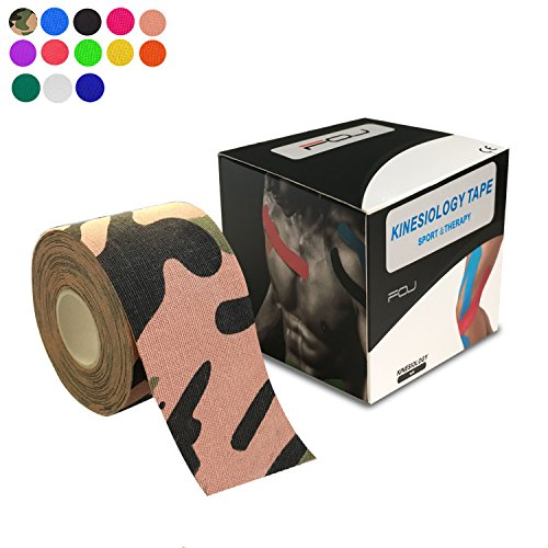 Kinesiology Theraeputic Tape Physio for Athletic Sports Recovery Pain Relieve Strong Adhesion Waterproof Original Cotton Uncut 2 Inch x 16.4 Feet (Camouflage)