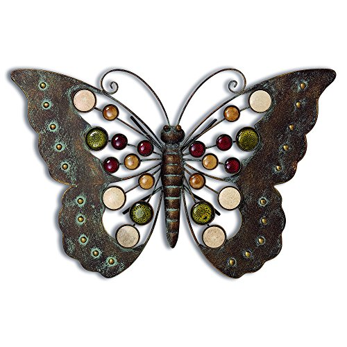 WHW Whole House Worlds Farmers Market Butterfly, Indoor or Outdoor Wall Art, Antiqued Finish, Distressed Weathered Patina, Artisinal Enamel Details, Hand Crafted Rustic Iron, 17 Inches Wide