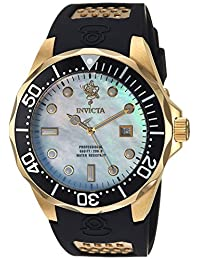 Invicta Men's Sea Base Black Polyurethane Band Steel Case Quartz Platinum Dial Analog Watch 23878