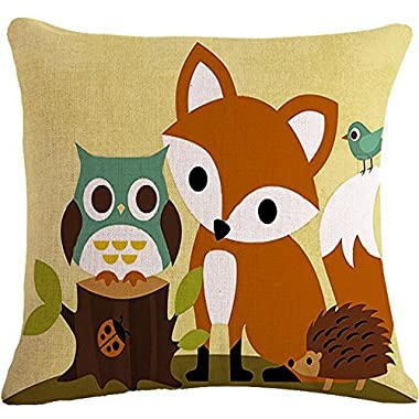 The Animal Fox Owl Hedgehog Throw Pillow Case Cushion Cover Decorative Cotton Blend Linen Pillowcase for Sofa 18  X 18   (5)