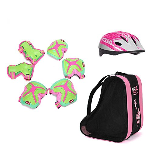 Nanle Children's Sports Protective Cover PVC Blister 12 Hole Color Adjustable Helmet Skin-friendly Breathable Wearable Kneepads Elbow Bracers Shoulder Bag S M L (Color : Pink)