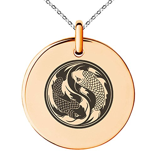 Rose Gold Plated Stainless Steel Koi Fish Yin Yang Symbol Engraved Small Medallion Circle Charm Pendant (Small Circle Charm)