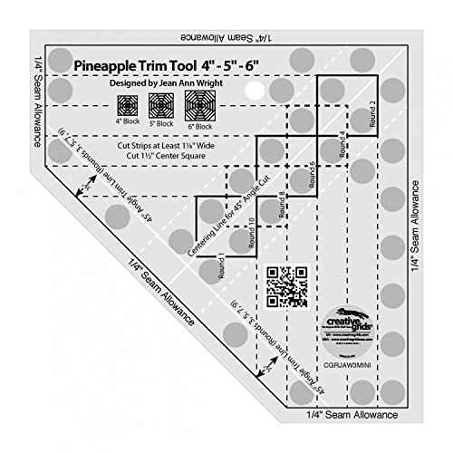 Creative Grids Mini Pineapple Trim Tool Quilting Ruler Template [CGRJAW3MINI] by Creative Grids