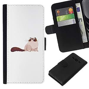 Be-Star la tarjeta de Crédito Slots PU Funda de cuero Monedero caso cubierta de piel Para Samsung Galaxy A3 ( Big Pussy Cat Art Drawing Siamese Furry )