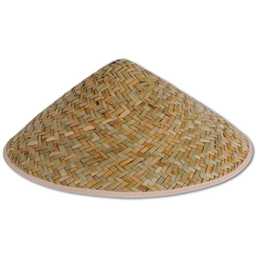 Asian Vietnamese Japanese Coolie Straw Bamboo Sun Hat Farmer Costume Accessory -