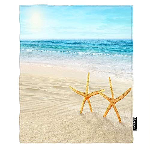 Moslion Beach Blanket Starfishes on The Sand Summer Seashore Ocean Wave Coastal Holiday Paradise Throw Blanket Flannel Home Decorative Soft Cozy Blankets 40x50 Inch for Baby Kids Pet Blue ()