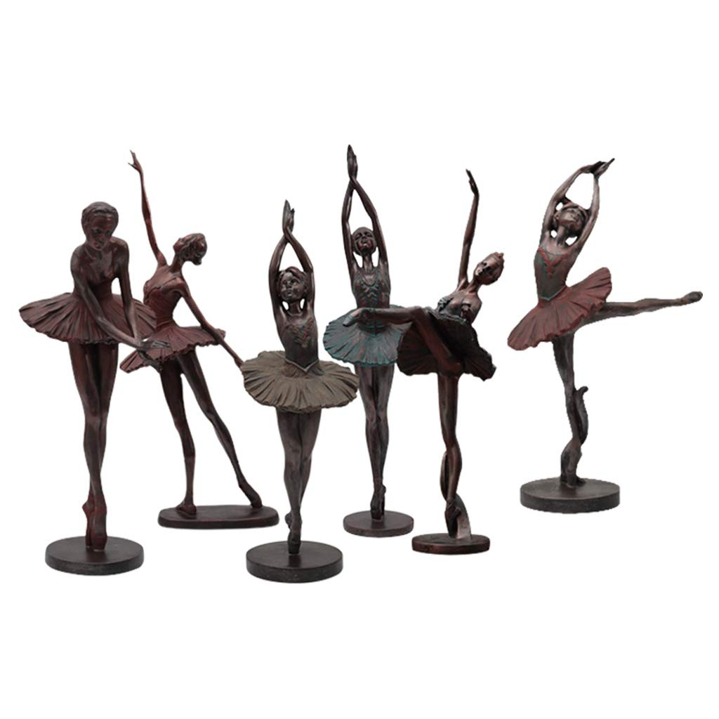 Ballerina Sculpture, Decoration Home Living Room Retro Character Resin European Crafts Home (Color : One Set (6))