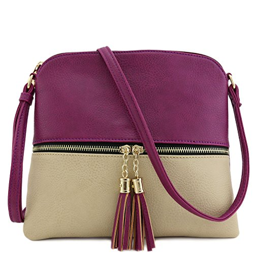 Tassel Accent Colorblock Medium Crossbody Bag - Bag Purple Body Cross
