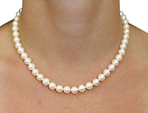 Freshwater Cultured Pearl Necklace & Earrings Set, 18 Inch Princess Length AAAA Quality