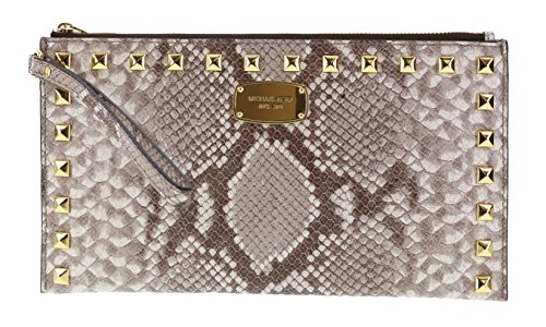 Michael Kors Saffiano Embossed Leather Studded Zip Clutch Wristlet Handbag (Dark Sand) by Michael Kors