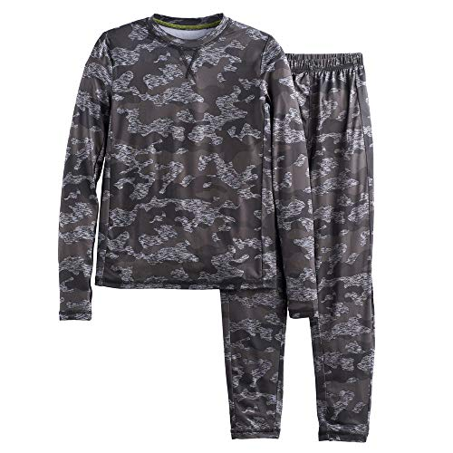 Camo Thermal Bottoms - Boys Winter Base-Layer Thermal Underwear top and Bottom Set with Thumbhole, Grey Camo XL (16-18)