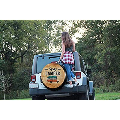 MSGUIDE Happy Camper Tire Covers Spare Wheel Cover for RV Jeep Wrangler Trailer 14 15 16 17 Inch Water-Proof Dust-Proof and Sun Protection: Clothing