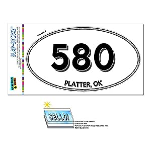 Graphics and More Area Code Oval Window Laminated Sticker 580 Oklahoma OK Manchester - Shattuck - Platter