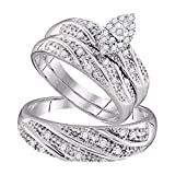 Smjewels His & Her 14k White Gold Fn 0.32 ct Marquise Shape Diamond Trio Wedding Ring Set