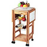 Multifunctional Bar Service Shelves Rolling Cart,Utility Organization Kitchen Bathroom Cart with Wheels Rolling Rack Basket Vintage Triple Organizer Black Home Organization