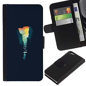 KLONGSHOP // Tirón de la caja Cartera de cuero con ranuras para tarjetas - Extracto del paisaje urbano - Apple Iphone 6 //