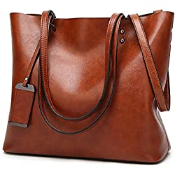 ALARION Women Top Handle Satchel Handbags Shoulder Bag Messenger Tote Bag Purse Brown