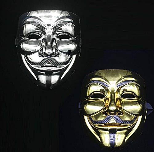 V Vendetta Mask - Free Dhl 100 Pcs Movie Theme V Halloween Full Face Plating Silver Gold Sn1433 - Up Endetta For Kids Light Ring Led]()