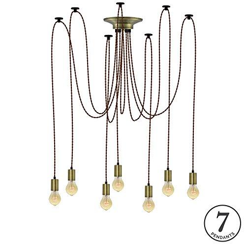 Antique Brass Spider (Brown Twisted and Antique Brass 7 Pendant Light Chandelier)