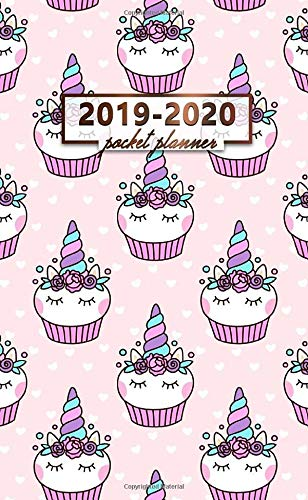 2019-2020 Pocket Planner: Two-Year Monthly Cupcake Unicorn Pocket Planner with Phone Book, Password Log and Notebook. Cute Pink 24 Month Agenda, Calendar and Organizer. (Log 2019 Cake Christmas)
