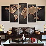 5 Pcs/Set Modern Abstract Wall Art Painting World Map Canvas Painting for Living Room HomeDecor Picture (unframed)