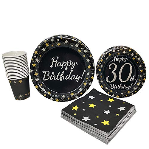 30th Birthday Party Supplies (65+ Pieces for 16 Guests!), Milestone Birthday Kit, Thirtieth Tableware Pack, Anniversary Birthday Decorations, Gold and Silver