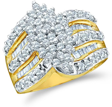 Size - 11 - 10k Yellow and White Two 2 Tone Gold Large Marquise Shape Cluster Round Cut & Baguette Diamond Engagement Wedding Ring Band 15mm (1.02 cttw)