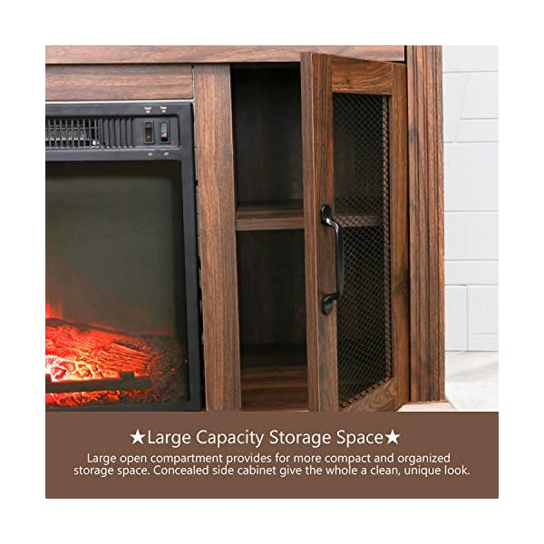 """Patio Festival Fireplace Entertainment Center Wooden Electric Fireplaces tv Stand fire Place for TVs up to 50"""" Wide, Espresso"""
