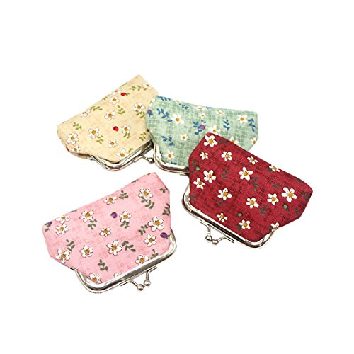 Oyachic 4 Pack Kisslock Coin Purse Floral Change Pouch Mini Wallet with Clasp Closure Gifts for Women Girls(checks and flowers) ()