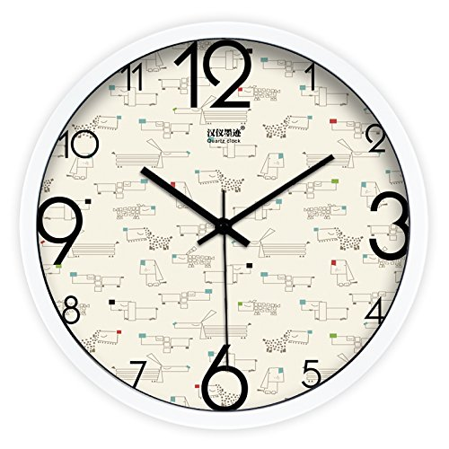 - FortuneVin Wall Clock Silent movement Wall Clock Home Office Decor for Living Room Bedroom and Kitchen Clock Wall Creative Animated Color Point Dog Modern Mute Quartz755,14 In White