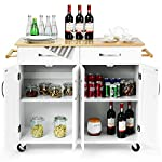 Casart Kitchen Island W/Wood Top, Two Drawers and Cabinets, Lockable Wheels Rolling Kitchen Cart (White)