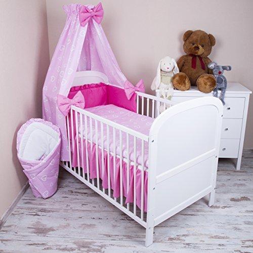 Parure de lit b?b? 5?pi?ces avec lit, draps de lit et ciel de lit 100?x 135?cm, coeurs, rose by zieba