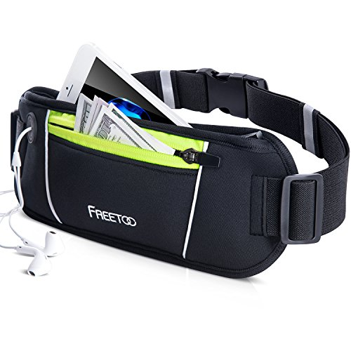 FREETOO Fanny Pack Running Bag Running Belt Workout Waist Pack for Women and Men Ideal for iphone X/ 8/ 8Plus/7 /7Plus /6s /6 Galaxy S5 S6(Black and Green) Extra - Running Womens Pack