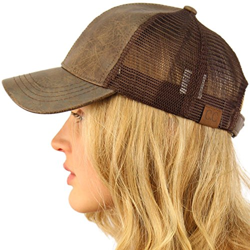 CC Everyday Mesh Trucker Faux Leather Plain Blank Baseball Cap Hat Solid Dk. Brown