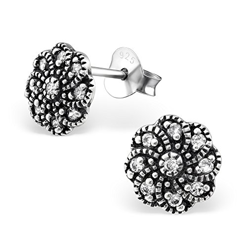 925 Sterling Silver Hypoallergenic Oxidized Flower w/ Crystal CZ Stud Earrings for Women or Girls 30812