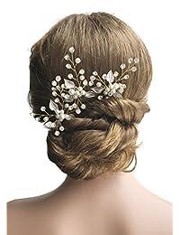 Missgrace 3 pcs Wedding Bridal Crystal Hair Pins Headpiece Evening Hair Accessories