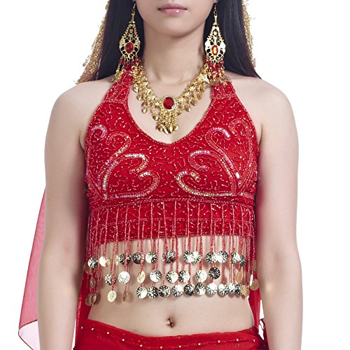 Dance Costumes Idea (BellyLady Tribal Belly Dance Costume Halter Coins Bra Top, Gift Idea REDGOLDCOINS)