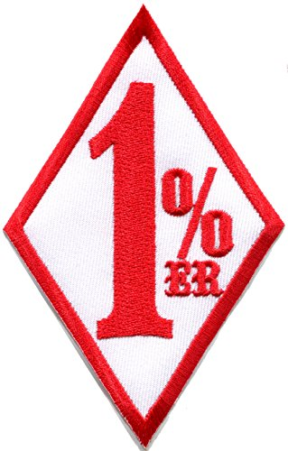 One Percenter 1%er biker outlaw motorcycle gang red on white embroidered applique iron-on patch new (Gang Jacket Biker)