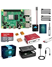 LABISTS Raspberry Pi 4 Starter Kit with 4GB RAM Board, 64GB Micro SD Card Raspbian, 3A Power Supply with On/Off Switch, Cooling Fan and 3 Heatsinks, Premium Black Case and Other Necessary Accessories