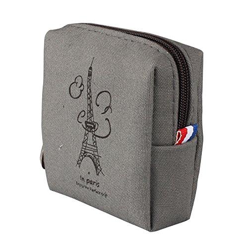 Women Canvas Retro Small Mini Square Coin Purses Wallet Zipper Clutch Money Pouch Bags (109.52.3 cm, Gray)