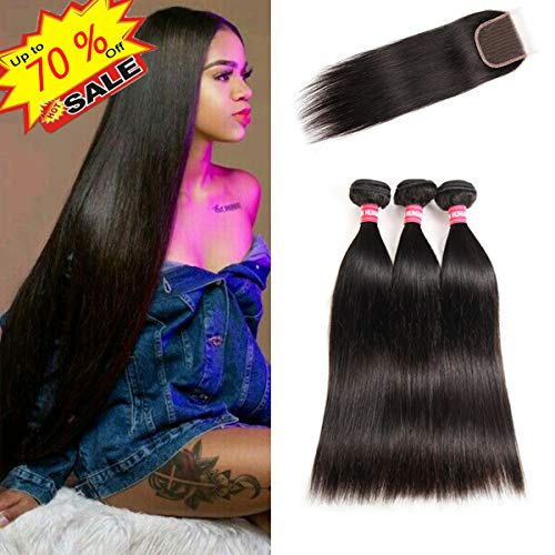 Burmese Natural - LONG YAO Brazilian Virgin Straight Human Hair 3 Bundles with 4 x 4 Lace Closure with Bundles Straight Human Hair Weave Natural Color(Straight 12 14 16+10 Closure, Straight Bundles with Closure)