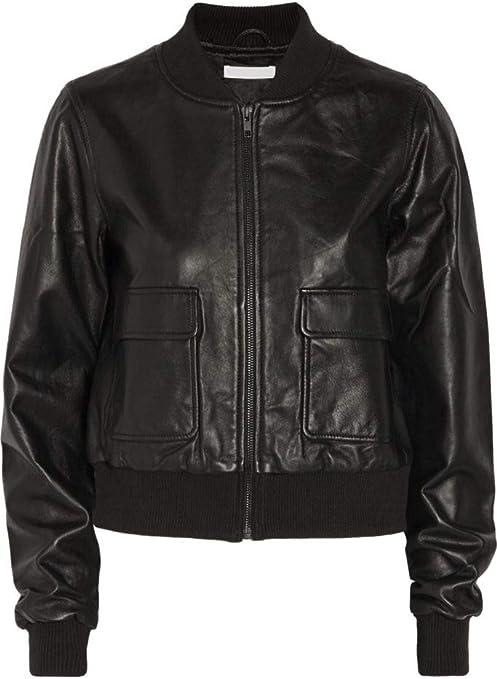 Woojo Brand Womens Genuine Real Lambskin Leather Jacket Bomber Leather Jacket/WO065
