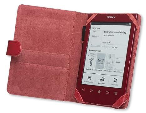 La funda Gecko Covers Sony PRS T2/T1 de color rojo oscuro para la ...