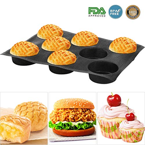 Silicone Bun Bread Forms - Hamburger Bread Form,Non-stick Perforated Bakery Mold, Round Bread Mould, Baking Liners Mat Bread Form Pan (8 Loaves, Black) (Mold Bread Round)
