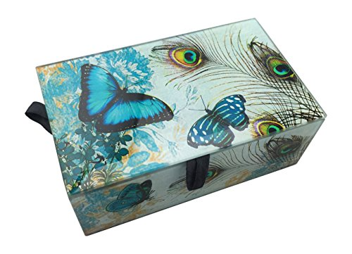 Peacock Feathers and Butterflies Glass Jewelry Box Butterfly Peacock