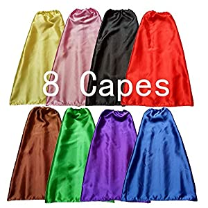 YIISUN Children Dress Up Capes Set of 8 - 514ojt 7 4L - YIISUN Children Dress Up Capes for Kids Cape Costume Birthday Party DIY Capes and Masks(8 Pack)